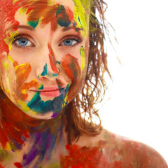 portrait of girl soiled in paint