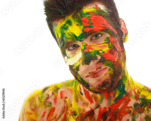 portrait of man soiled in paint