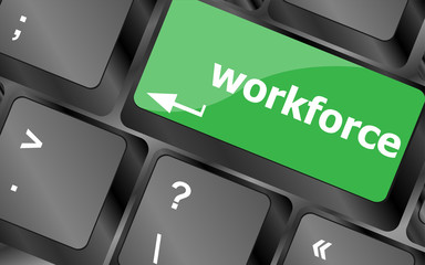 Workforce keys on keyboard - business concept
