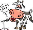 singing cow cartoon illustration