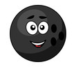 Black bowling ball with a happy smile