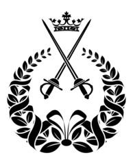 Royal laurel wreath with swords
