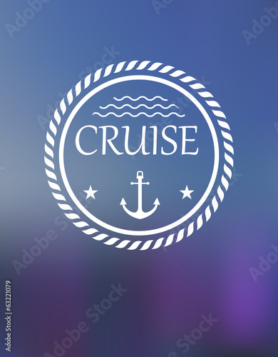 Cruise header with anchor and waves
