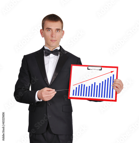 red clipboard with chart