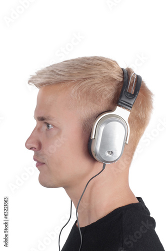 Guy in headphones, photo in profile