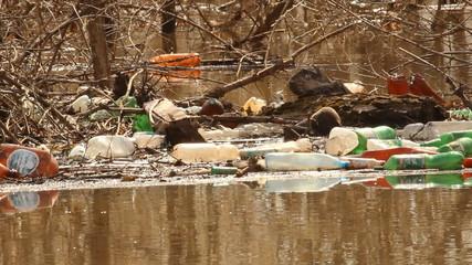 Spring flooding. Rubbish, ecology