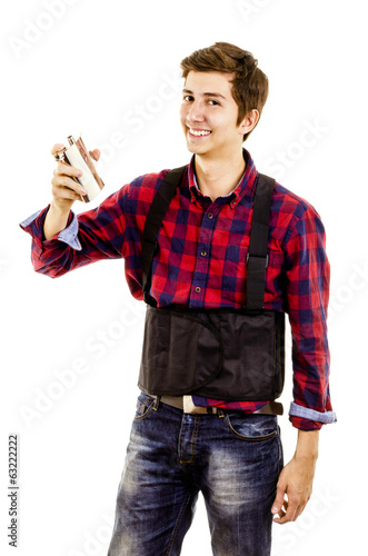 man drinking with a flask