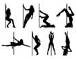 Pole dance women silhouettes