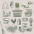 farmers' market - set of nostalgic vector elements