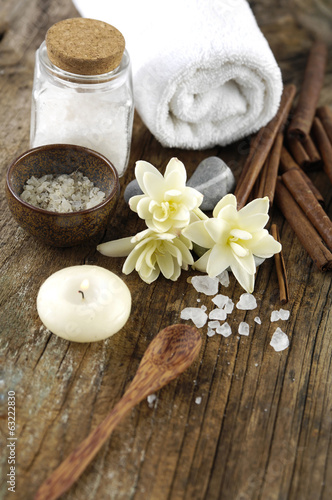 Aromatherapy SPA set on old wood