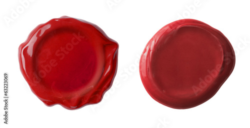 red waxseals set or post stamps isolated on white