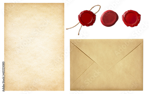 vintage postal set: old mail envelope, blank letter paper and re