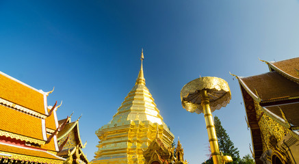 Golden pagoda of Wat Phra Tard Doi Su Thep, Chaing mai, Thailand