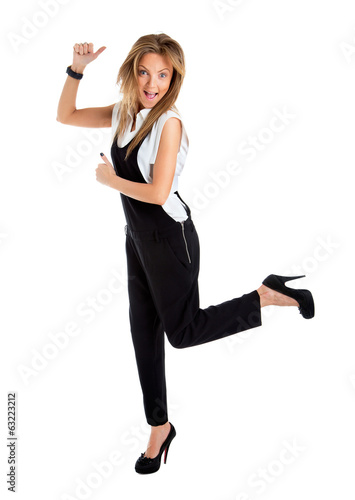 Successful young business woman happy for her success. Isolated