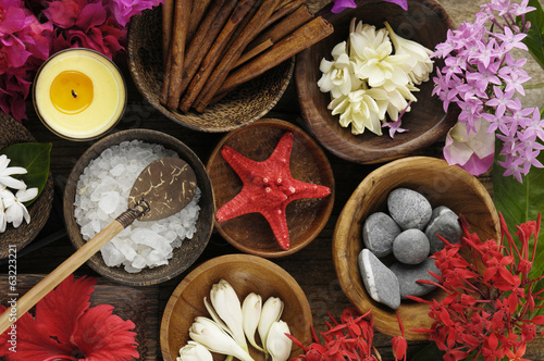 Tropical Spa set made of many still-life elements