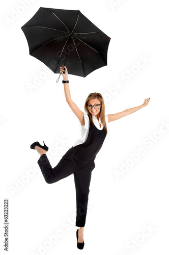 young girl in a business suit and carrying an umbrella in his ha