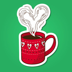 Tea or coffee cup with heart shaped steam.