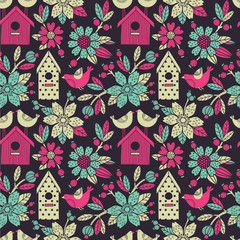 Seamless floral pattern with birdhouses