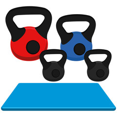 Exercise Mat And Weight Illustration Isolated On White