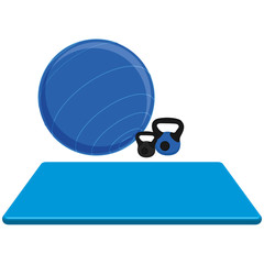 Exercise Mat, Ball And Weights Isolated On White Background