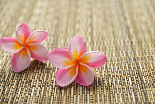 Two pink frangipani and woven wicker mat