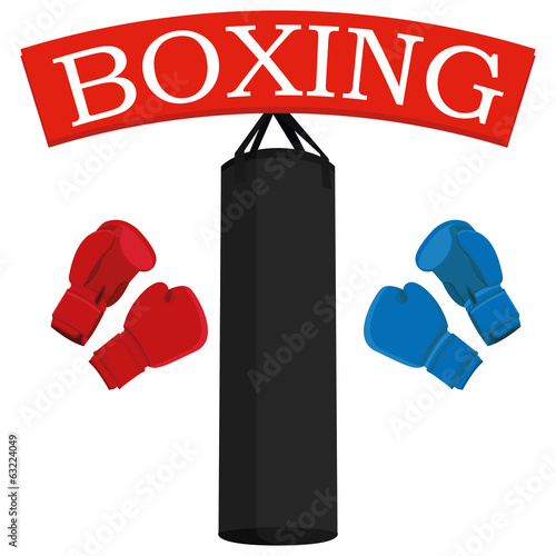 Punching Bags And Boxing Gloves Illustration Isolated On White