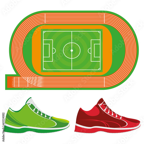 Sports Ground Illustration And Sport Shoes Isolated On White
