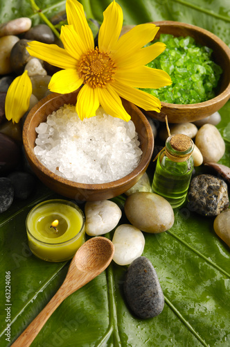 image of tropical spa and banana leaf