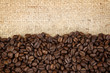 Coffee beans on hessian