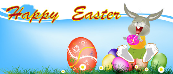 Happy Rabbit and Easter Eggs.Holiday. Happy Easter.Vector