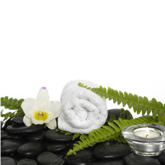 towel with green fern and white orchid on pebbles