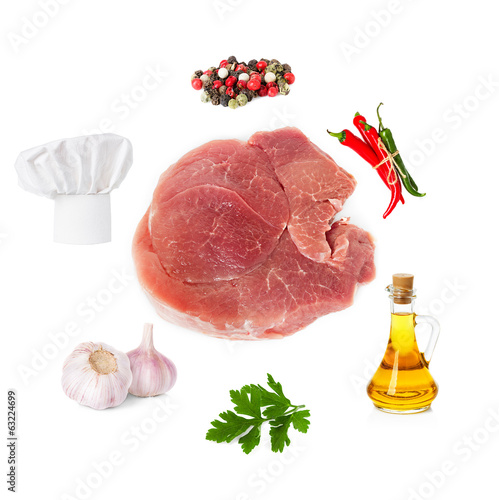set of products for cooking meat