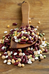 different types of beans - red , chickpeas, peas