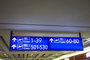 Boarding gates signs