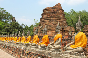 Aligned buddha statues with orange bands in Ayutthaya, Thailand