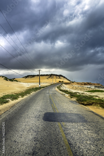 Road by the beach of Natal, Brazil
