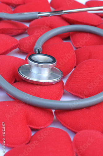 fabric heart with stethoscope