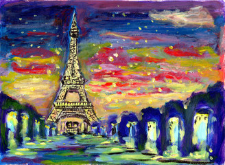oil painting sunset paris