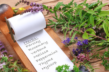List with herbs