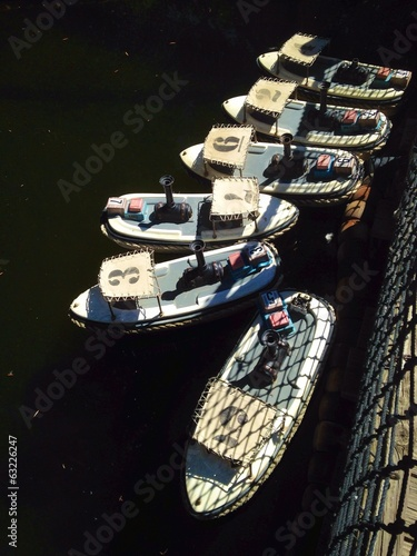 Miniature boats docked at Lake game.