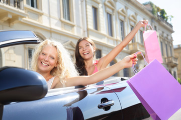 Car driver woman driving and shopping with friends