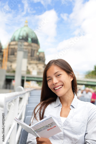 Asian tourist woman on boat tour Berlin, Germany