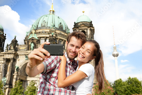 Travel couple selfie self portrait, Berlin Germany