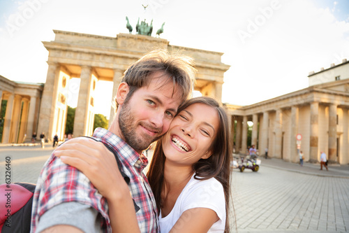 Happy couple selfie, Brandenburg Gate, Berlin