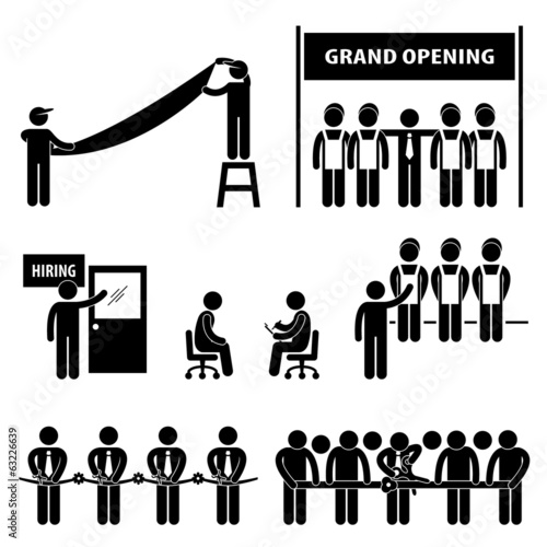 Business Grand Opening Scissor Cutting Ribbon Hiring Employment