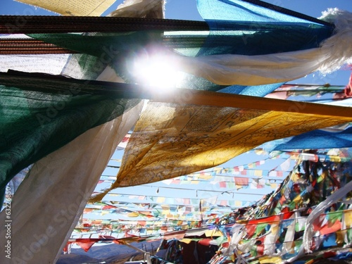 Prayer flags on highest land Tibet
