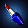 glossy red lipstick