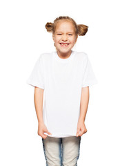 Child in white t-shirt