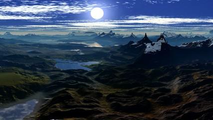 Sun sets between two  peaks
