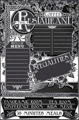 Vintage Graphic Blackboard Menu for Restaurant